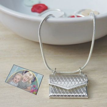 Photo Envelope Pendant - Ideal Wedding Day Necklace for Bride or great Valentine's Day Gift
